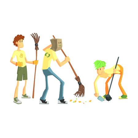 Three Person Collecting Garbage Cute Cartoon Style Flat Vector Illustration On White Background