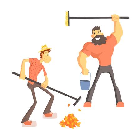 Two Man Soulever Feuilles Mignon Cartoon Style plat Illustration Vecteur Sur fond blanc