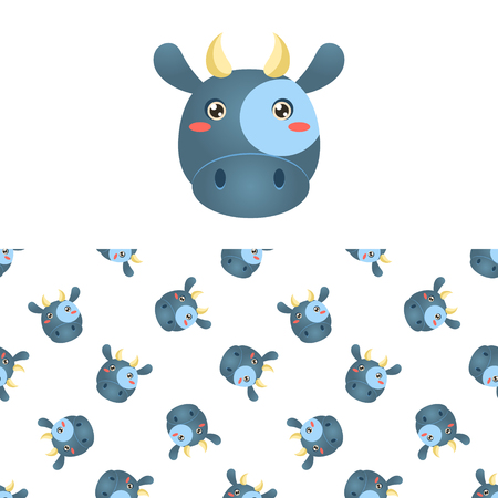 Cow Head Icon And  Seamless Decorative Pattern In Childish Style  Flat Vector Print On White Background Illustration
