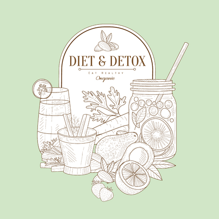 detox: Vintage Vector Hand Drawn Design Card With Diet And Detox Healthy Food Set