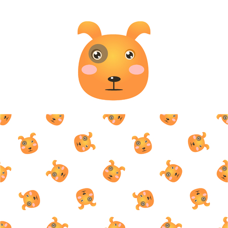children only: Puppy Head Icon And Seamless Decorative Pattern In Childish Style  Flat Vector Print On White Background Illustration