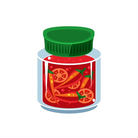 hot sauce: Hot Sauce In Transparent Jar Isolated Flat Vector Icon On White Backgroung In Simplified Manner Illustration