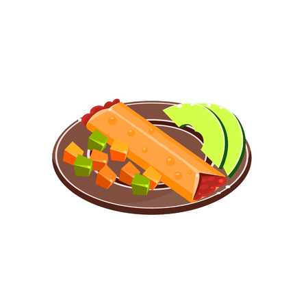 mexican food plate: Burrito On The Plate Traditional Mexican Cuisine Sample Vector Drawing In Realistic Cartoon Style Isolated On White Background Illustration