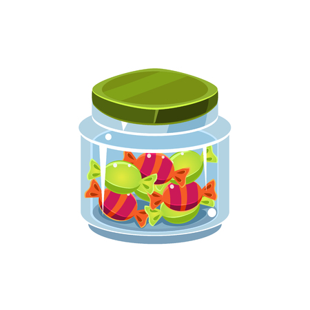 manner: Candy In Transparent Jar Isolated Flat Vector Icon On White Backgroung In Simplified Manner