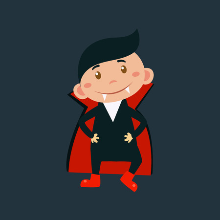 haloween: Little Boy In Dracula Haloween Disguise Funny Flat Vector Illustration On Dark Background Illustration