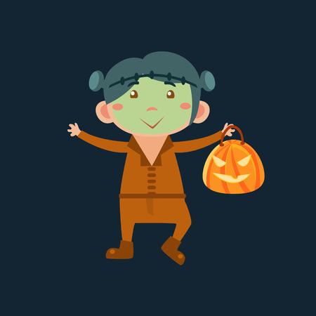 Boy In Frankenstein Haloween Disguise Funny Flat Vector Illustration On Dark Background Illustration