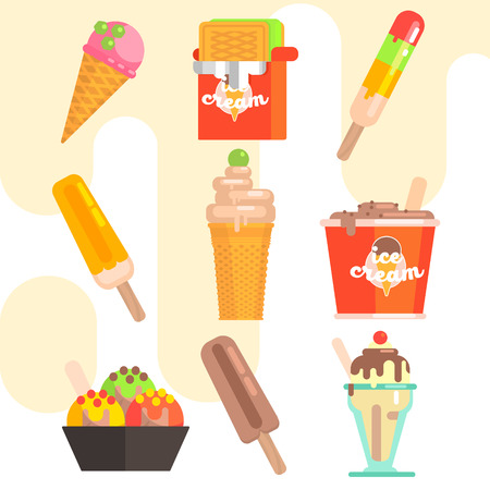 mixed nuts: Ice Cream Vector Illustrations Set flat design