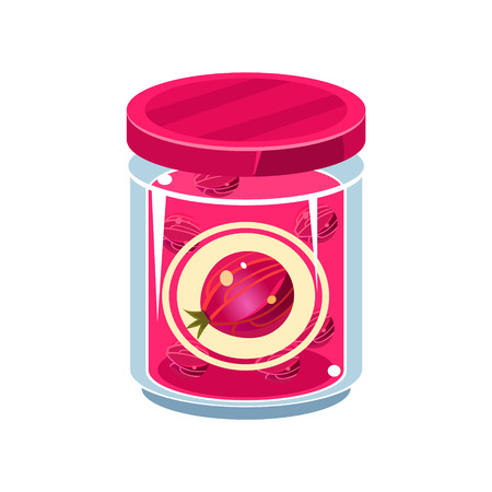 manner: Gooseberry Jam  In Transparent Jar Isolated Flat Vector Icon On White Backgroung In Simplified Manner