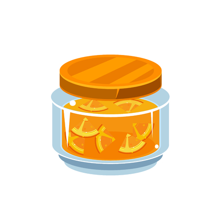 manner: Orange Jam  In Transparent Jar Isolated Flat Vector Icon On White Backgroung In Simplified Manner