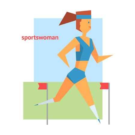 sportswoman: Sportswoman Abstract Running Figure Flat Vector Illustration  With Text