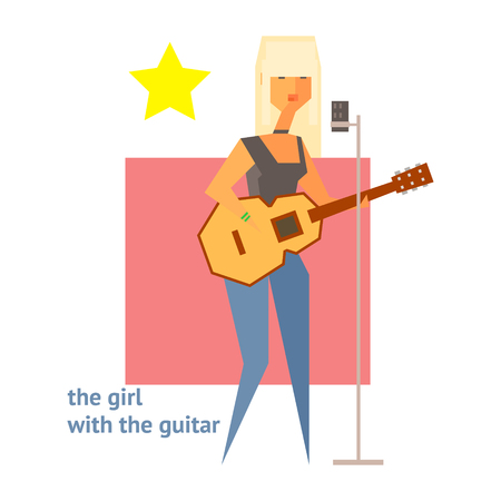 Girl With The Guitar Abstract Figure Flat Vector Illustration With Text