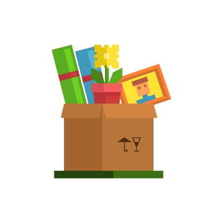 resettlement: Box With Personal Belongings  8-bit Abstract Primitive Flat Vector Illustration On White Background Illustration