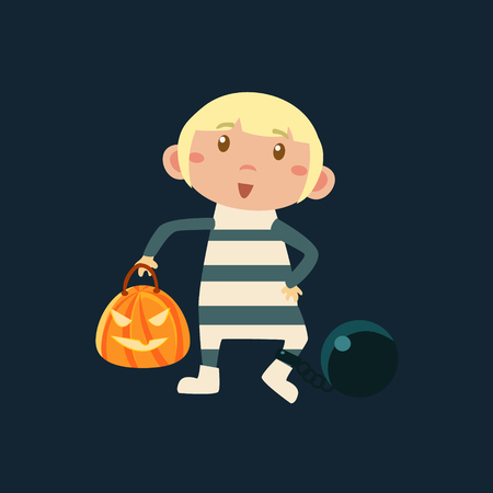 jailbird: Boy In Convict In Irons  Haloween Disguise Funny Flat Vector Illustration On Dark Background Illustration