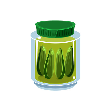 manner: Pickled Cucumbers  In Transparent Jar Isolated Flat Vector Icon On White Backgroung In Simplified Manner