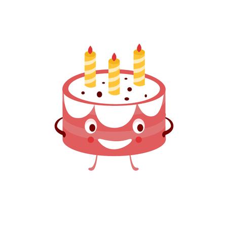 tortas de cumpleaños: Humanizado Ilustración de la torta plana divertido del vector en estilo de dibujos animados aislado en el fondo blanco