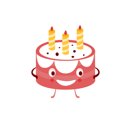funny birthday: Humanized Cake Funny  Flat Vector Illustration In Cartoon Style Isolated On White Background