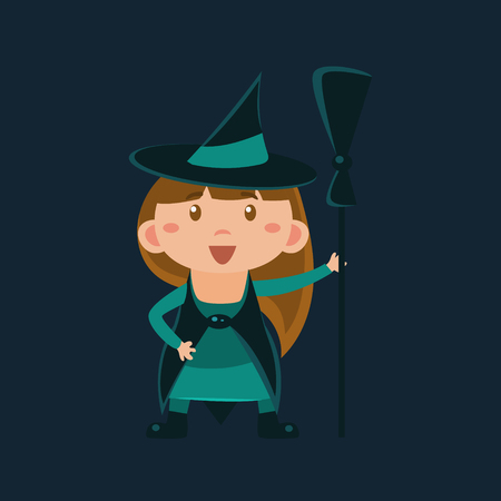 disguise: Girl In Haloween Disguise Funny Flat Vector Illustration On Dark Background