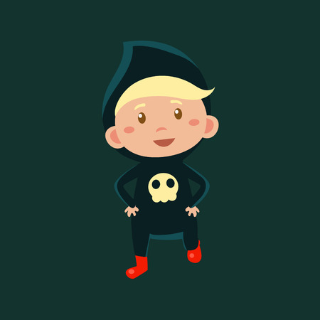 haloween: Boy In Jumpsuit With Skull Haloween Disguise Funny Flat Vector Illustration On Dark Background