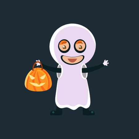 haloween: Kid In Ghost Haloween Disguise Funny Flat Vector Illustration On Dark Background