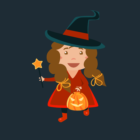 haloween: Girl In Red Haloween Disguise Funny Flat Vector Illustration On Dark Background