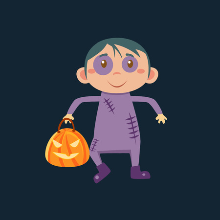haloween: Boy In Zombie Haloween Disguise Funny Flat Vector Illustration On Dark Background Illustration