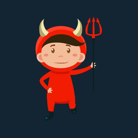 haloween: Boy In Red Devil Haloween Disguise Funny Flat Vector Illustration On Dark Background