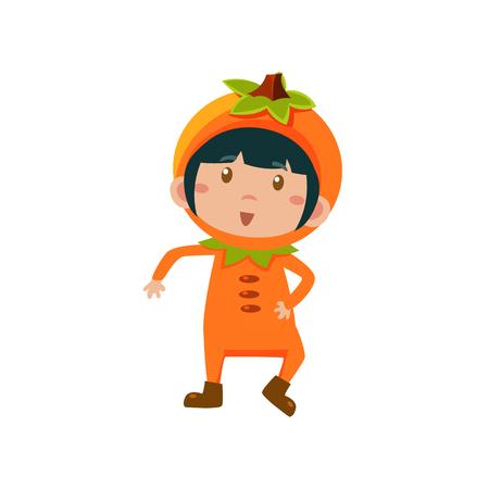 fruited: Cute Kid In Orange Costume. Vector Illustration