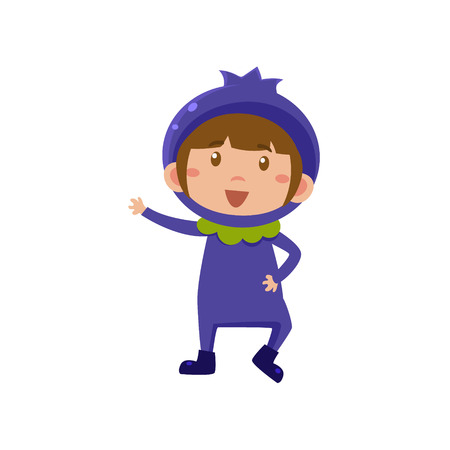 whortleberry: Cute Kid In Blueberry Costume. Vector Illustration