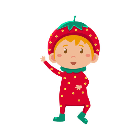 fruited: Cute Kid In Strawberry Costume. Vector Illustration
