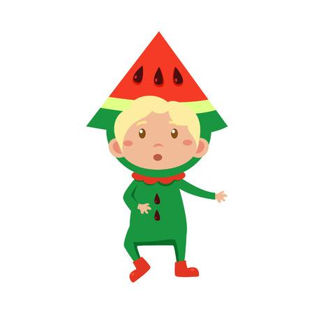 fruited: Cute Kid In Watermelon Costume. Vector Illustration Illustration