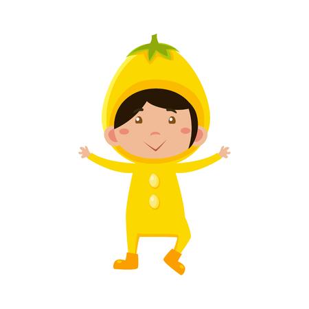 fruited: Cute Kid In Lemon Costume. Vector Illustration