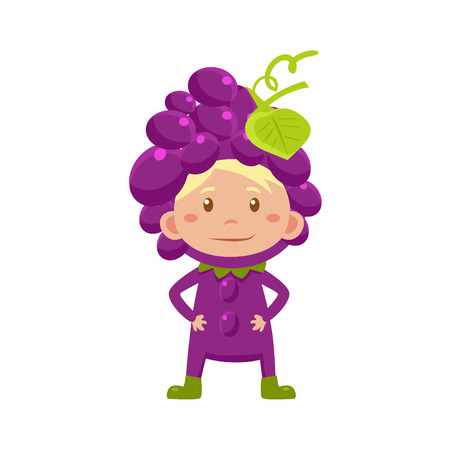 fruited: Cute Kid In Grapes Costume. Vector Illustration
