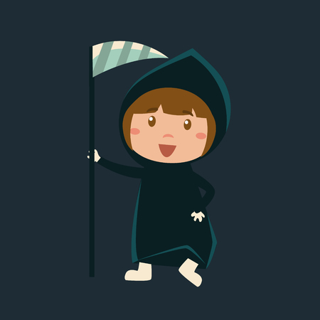 haloween: Girl In Death Haloween Disguise Funny Flat Vector Illustration On Dark Background Illustration