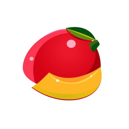 mango: Mango Flat Wektor naklejki uproszczony projektu samodzielnie na białym backgroung