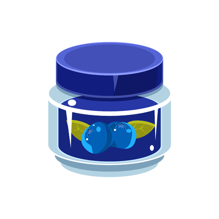manner: Blueberry Jam  In Transparent Jar Isolated Flat Vector Icon On White Backgroung In Simplified Manner Illustration
