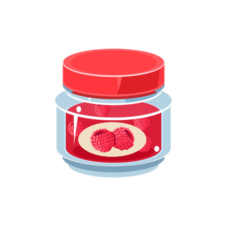 white backgroung: Raspberry Jam In Transparent Jar Isolated Flat Vector Icon On White Backgroung In Simplified Manner