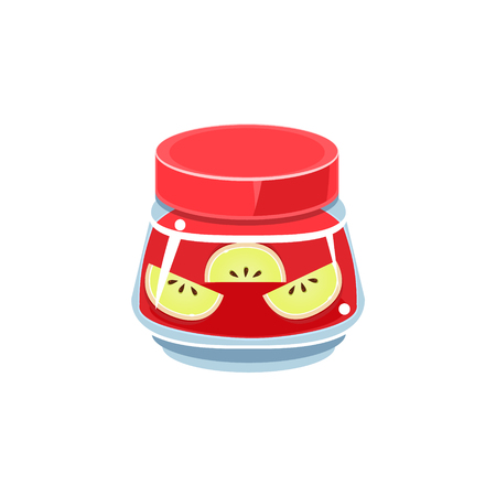 manner: Slices Of Apple  In Transparent Jar Isolated Flat Vector Icon On White Backgroung In Simplified Manner