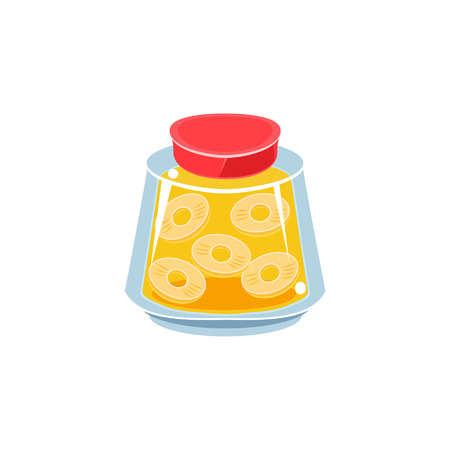 white backgroung: Pinapple Jam  In Transparent Jar Isolated Flat Vector Icon On White Backgroung In Simplified Manner