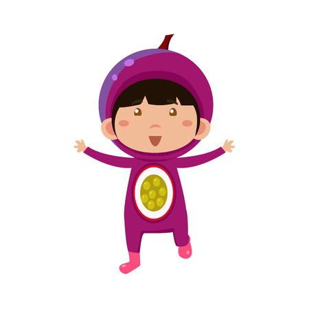 fruited: Cute Kid In Fruit Costume. Vector Illustration