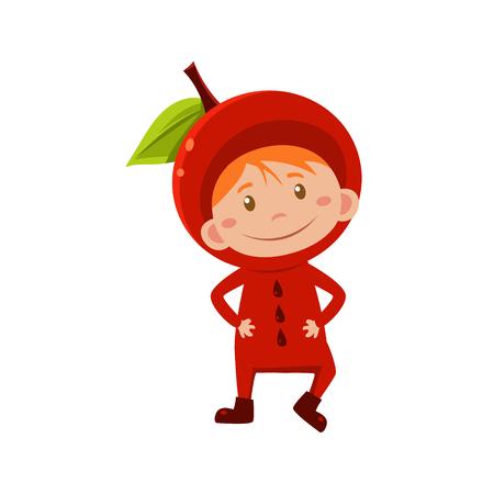 fruited: Cute Kid In Apple Costume. Vector Illustration