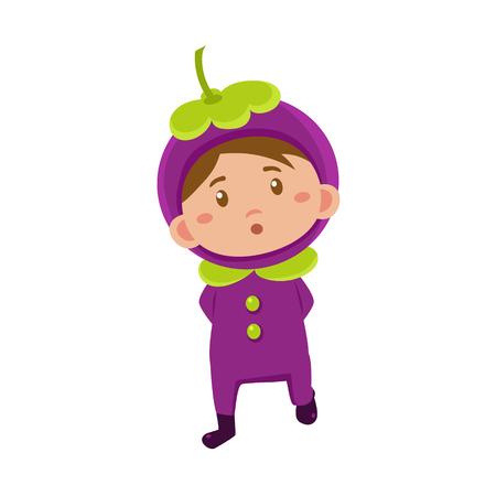 fruited: Cute Kid In Mangosteen Costume. Vector Illustration Illustration
