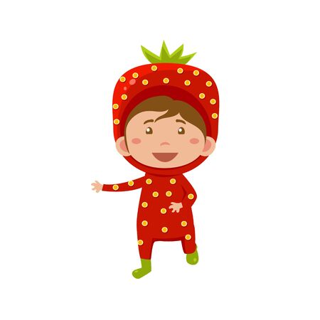 fruited: Cute Kid Wearing Strawberry Costume. Vector Illustration