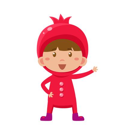 fruited: Cute Kid In Pomegranate Costume. Vector Illustration Illustration