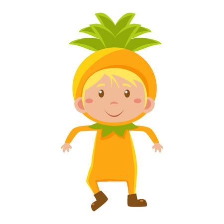fruited: Cute Kid In Pineapple  Costume. Vector Illustration Illustration