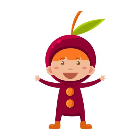 fruited: Cute Kid In Cherry Costume. Vector Illustration