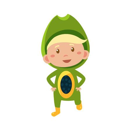 fruited: Cute Kid In Avocado Costume. Vector Illustration Illustration