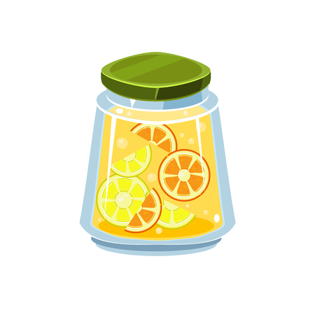 white backgroung: Leman Jam  In Transparent Jar Isolated Flat Vector Icon On White Backgroung In Simplified Manner