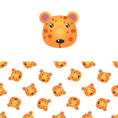 leopard head: Leopard Head Icon And Seamless Decorative Pattern In Childish Style  Flat Vector Print On White Background