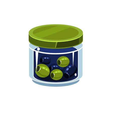 Olives mixtes Dans Jar Transparent Isolé plat Vector icône sur blanc Backgroung de manière simplifiée