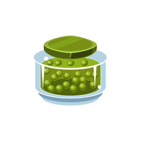 manner: Peas In Transparent Jar Isolated Flat Vector Icon On White Backgroung In Simplified Manner